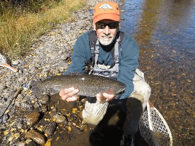 A rainbow trout caught while fishing