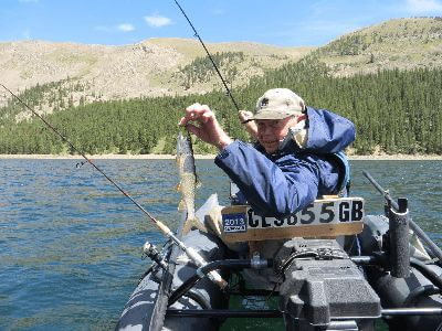 Freshwater fishing in a lake