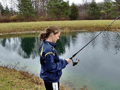 Freshwater fishing in a pond