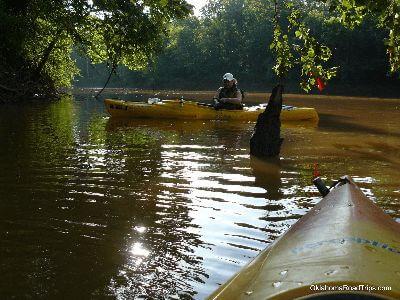 Kayak fishing in the deep fork river