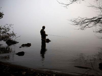 Lake fishing in Lake Ashi, Japan