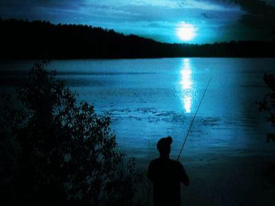 Night fishing out on a lake