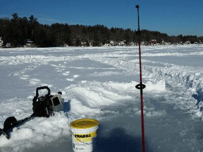 The point of view when ice fishing