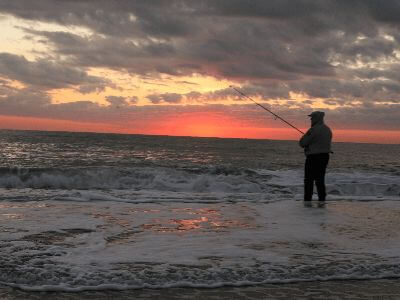 Surf fishing on monmouth beach
